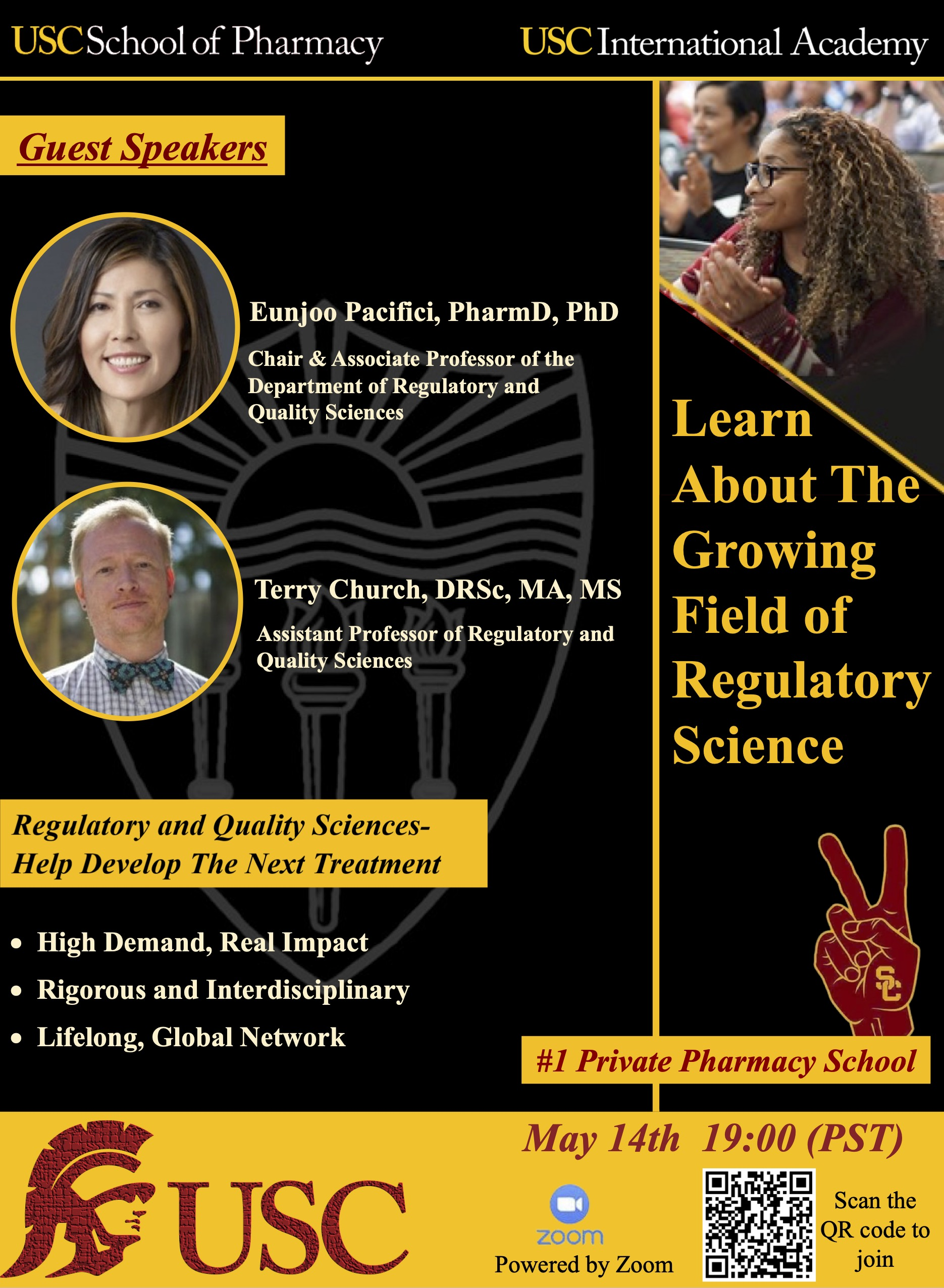 "USC School of Pharmacy Event ""Learn About The Growing Field of Regulatory Science"" on May 14th"